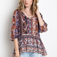 Paisley Ruffle Top - Blue/Red