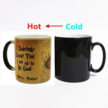 New 1Pcs Magic Mug Harry Hot Drink Cup Color Changing Mug Potter Marauders Map Mischief Managed Wine Tea Cup Creative Gifts