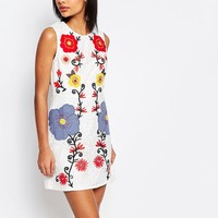 French Connection Alissa Bloom Embroidered Shift Dress