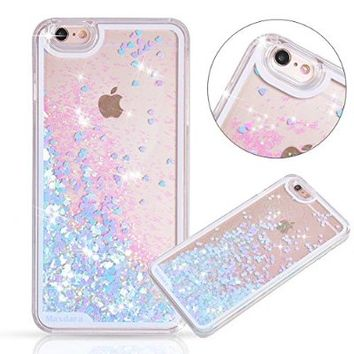 iPhone 6/6s Case, Maxdara iPhone 6/6s Hard Case Flowing Liquid Floating Luxury Bling Glitter Sparkle Case Cover Fashion Creative Design for Girls Children Fit for iPhone 6/6s 4.7 inch (Blue)