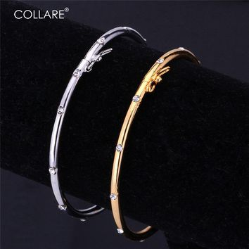 Collare Concise Crystal Bracelet For Women/Men Gold/Silver Color Rhinestone Accessories Bracelets & Bangles H575