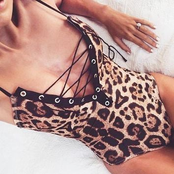 Summer New Fashion Leopard Print Straps One Piece Bikini Swimsuit