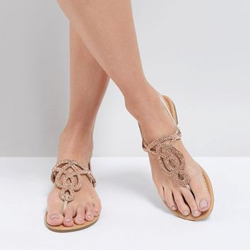 Park Lane Embellised Flat Sandals at asos.com