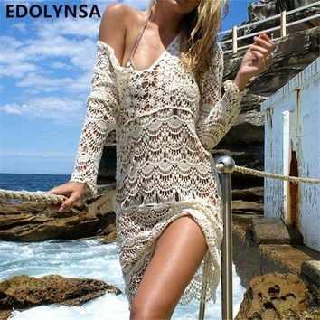 PEAPGC3 New Arrivals Sexy Beach Cover up Crochet White Swimwear Dress Ladies Bathing Suit Cover ups Beach Tunic Saida de Praia #Q148