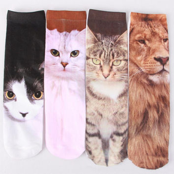 1 Pair 3D Printed Cat Dog Socks Women Men Unisex Cute In Tube Socks Multiple Colors Cotton Casual Animal Pattern Sock
