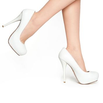 Gorgeous Pump in White Leather