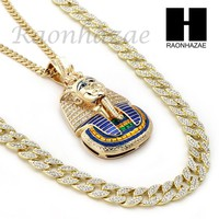 ICED OUT KING TUT PENDANT 6mm CUBAN/12mm ICED OUT CUBAN CHAIN NECKLACE SET S019