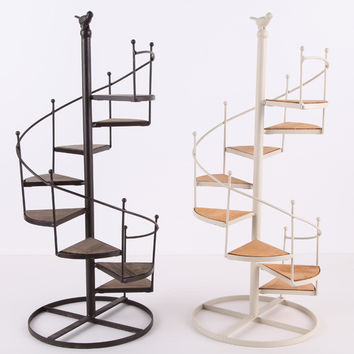 Spiral Staircase Design Wood And Metal Small Stand Shelf