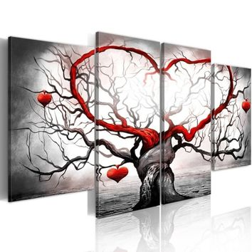 ( No Frame ) Abstract Canvas Wall Art Print Love Tree Home Decoration Painting Picture Modern(Size:3)