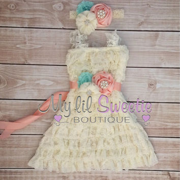 Ivory, peach, light mint aqua 3 piece set, dress, sash, headband, baby girl outfit, special occasion dress, toddler dress, girls dress,