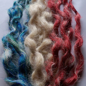 30 SE Single Ended Synthetic Long Red Blonde Blue Wavy Natural Dreadlock Braid Hair Extension Custom