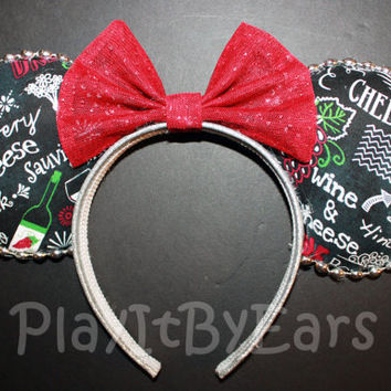 "Handmade ""Vineyard- Food and Wine Festival"" Epcot Custom Mouse Ears inspired by Disney"