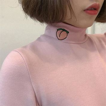 2018 Spring Korea Women's New Top pullover kawaii cartoon peach embroidery high collar long sleeve Harajuku Sweatshirt T-shirt