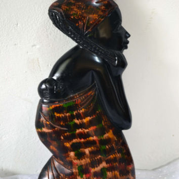 African Art, Handmade, Art, Carved, Wood, African Mother, Family, Tribal Art, Afrocentric Art, African American Art