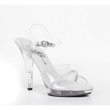 Ellie Shoes E-521-Jewel-W 5 Heel Clear Wide Width Sandal