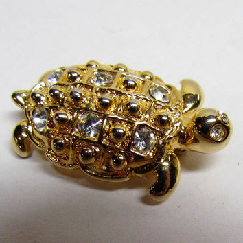 Vintage Brooch Pin, Gold Tone Turtle with Rhinestones