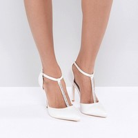 True Decadence Off White Embellished T-Bar Pumps at asos.com