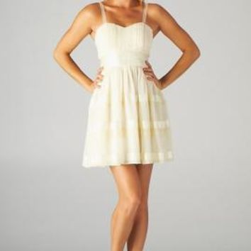 Spring Minuet Sweetheart Lace Strap Skater Dress with Ribbon Detail in Cream | Sincerely Sweet Boutique