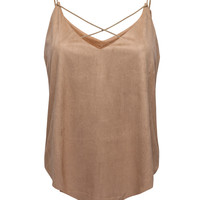 Camel Suedette V-Neck Cross Front Camisole Top