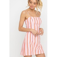 Striped Square Neckline Dress