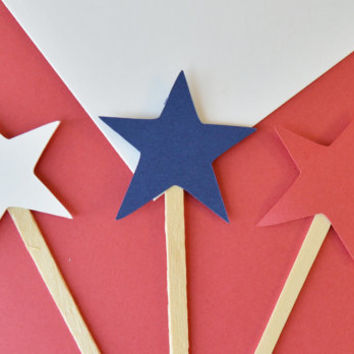 Star cupcake picks, cupcake toppers, red white and blue, july 4th decor, independence day, table decor, party decor