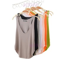Fashion Womens VNeck Vest Summer Loose Sleeveless Tank TShirt Tops