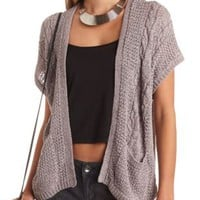 Cable Knit Short Sleeve Cardigan by Charlotte Russe - Gray