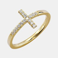 Women's Bony Levy Stackable Diamond Cross Ring