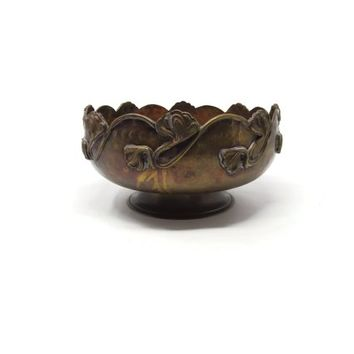 Copper Pedestal Brass Candy Bowl - Hammered Handmade Copper Bowl - Vintage 50's Home Decor - Copper Pedestal Plate