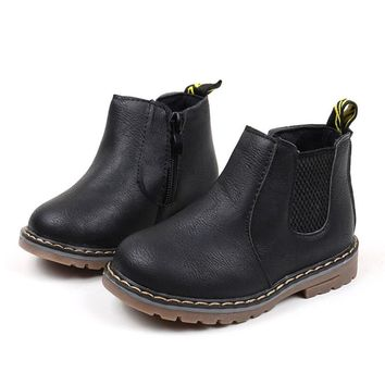 KIDS Winter Pu Leather Boots Shoes Children Fashion Boys Girls Rubber Sole Martin Sneaker Boots Kids Baby Casual Shoes