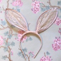 Pale Nude Pink Lace Bunny Ears Headband. by talulahblue on Etsy