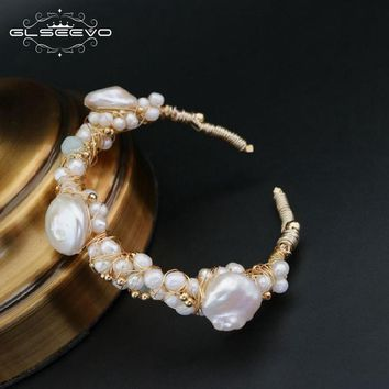 GLSEEVO Natural Stone Fresh Water Baroque White Pearl Bracelets Gift For Women Adjustable Bracelets & Bangle Jewelry GB0060