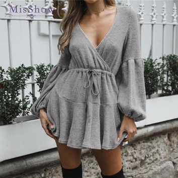 MisShow Fashion Autumn Knitted Women Sweaters Dress Puff Sleeve V Neck Lace Up Loose Women Sweaters Winter Pull Femme
