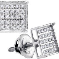 Sterling Silver Womens Round Diamond Square Cluster Stud Earrings 1/6 Cttw