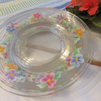 Hand Painted Clear Glass Floral Dessert Plates - Set of 4 - Red, Blue, Orange, and Purple Flowers - First Set Purchased Gets 5th Plate FREE