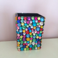 Customizable Rhinestone Pencil Cup
