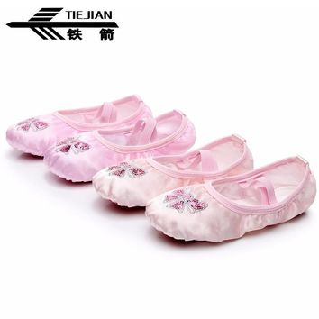 Flat Dance Shoes Children's Sequins Embroidery Ballet Shoes Comfortable Satin Soft Bottom Girls Women Chaussures De Danse LXZ04