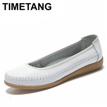 TIMETANG women genuine leather shoes Women Flats ballet flats woman shoes flexible outdoor loafer slip-on boat shoes 1519