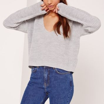 Missguided - V-Neck Slouchy Cropped Jumper Grey