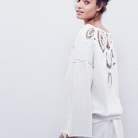 Free People Womens Seaside Scrolls Pullover