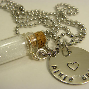 Pixie Dust Glass Jar Necklace Hand Stamped by WhisperingMetalworks