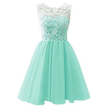 2017 3-14Y Summer Mint Green Party Evening Dresses Kids Dresses for Girls Sleeveless Mesh Lace Dress Children Vestidos Mujer D25
