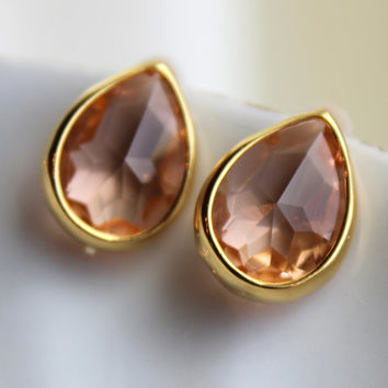 Blush Champagne Teardrop Stud Earrings Gold Plated - Peach Stud Earrings - Pink Post Earrings - Gold Teardrop Post Earrings - Blush Wedding