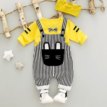 Baby Boy Clothes 2017 Autumn Newborn Baby Sets Infant Clothing Character Suit Cute Shirt+Bow Tie+Suspender Trousers HW1098