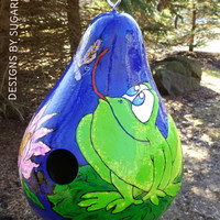 Frog and Dragonfly Hand Painted Birdhouse Gourd Art with Cattails and Lotus Flower Designs by Sugarbear CUTE  Bright and Fun Design