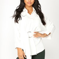 Anjelica Belted Top - Ivory
