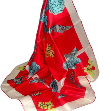 Vintage RED Floral SAKURA Japanese Hand Painted Silk Art Scarf - One of a Kind