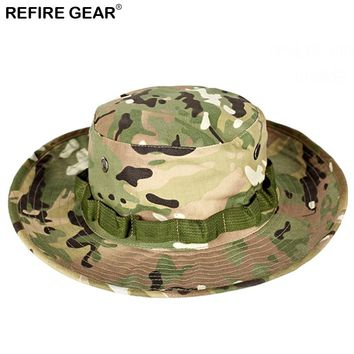 Summer Outdoor Camouflage Bucket Hat Men Camo Wide-brim Fishing Boonie Hat Hiking Breathable Camping Hunting Airsoft Cap Hat