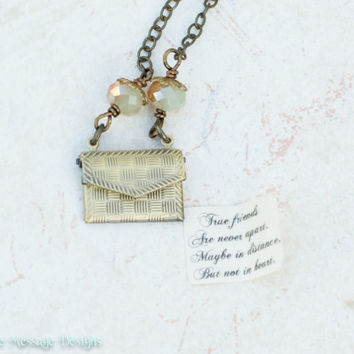 Friendship necklace with personalized  secret message inside bridesmaid gift