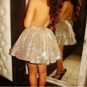 HOT SEQUINS SHINING SEXY BACK SHOW BODY DRESS
